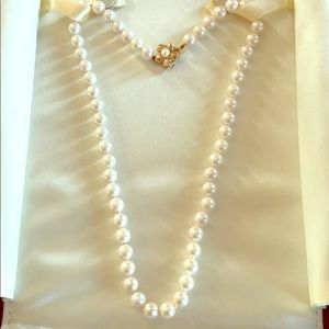 Genuine Pearl Necklace with 14k Gold Clasp